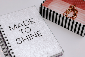 Made to Shine spiral notebook stripe box | #blog #lifestyle | Single Photo - Grand & Lovely Stock styled photography desktops lifestyle screens desktops stationary