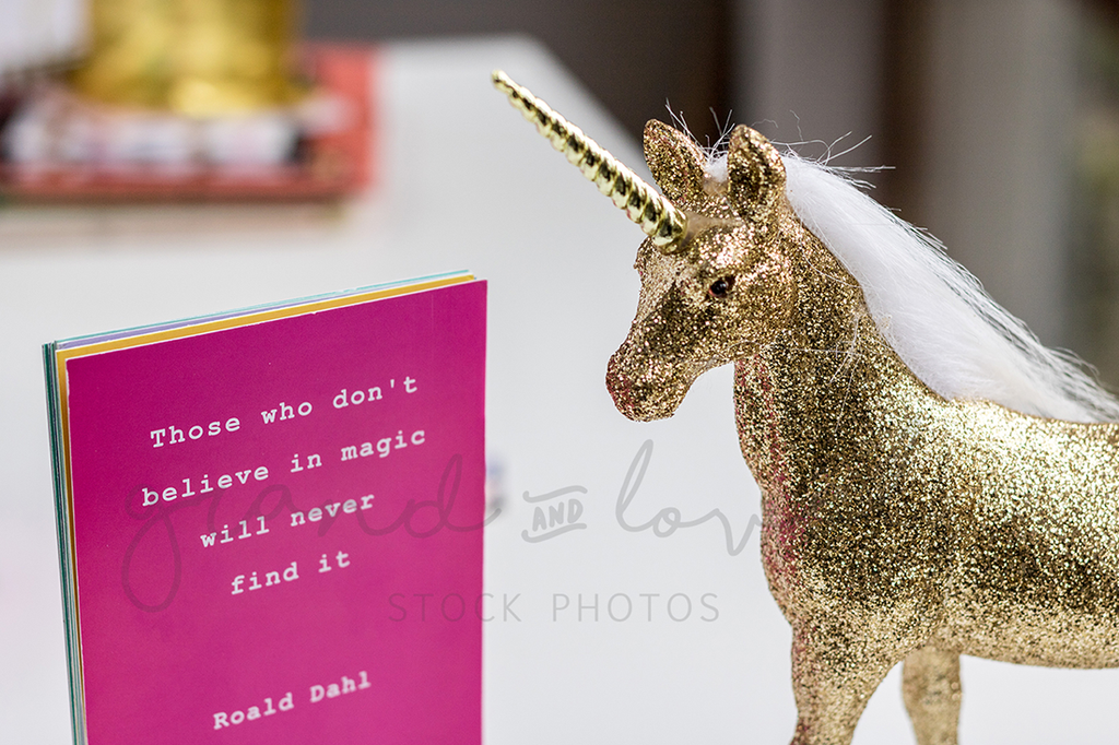 Gold Unicorn Magic Quotes Mockup | Single Photo - Grand & Lovely Stock styled photography desktops lifestyle screens desktops stationary