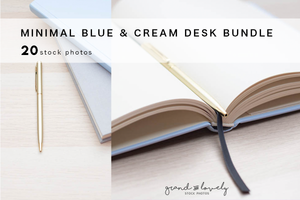 MINIMAL BLUE & CREAM DESK bundle (20 styled stock photos) - Grand & Lovely Stock styled photography desktops lifestyle screens desktops stationary