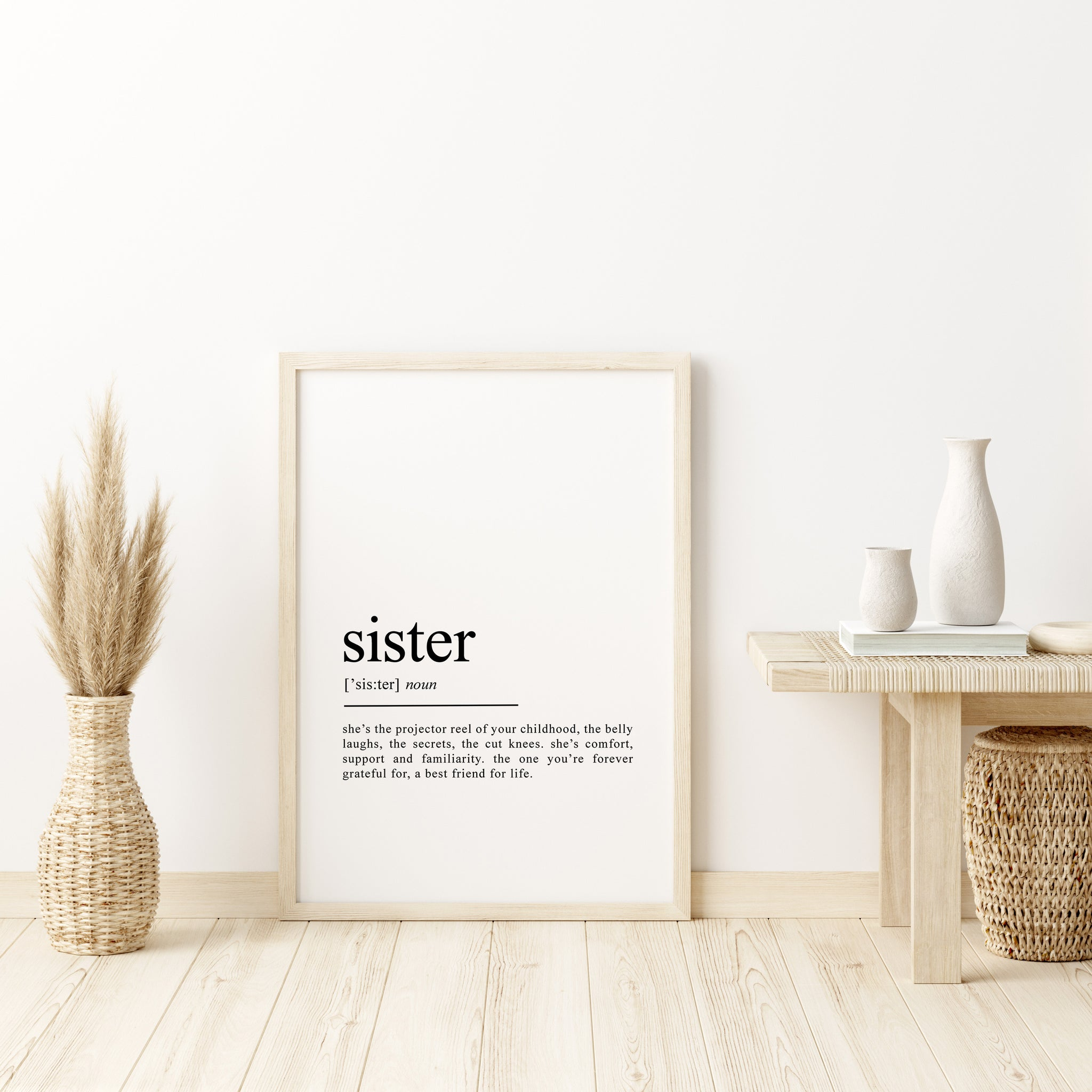 Sister Definition Word Wall Art | Sister Print Gift | Love | Special person present