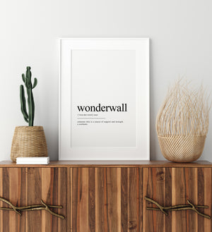 Wonderwall Definition Word Wall Art |  Digital Home Decor | Unique Words