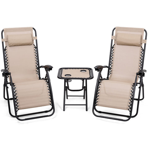Image of 3pc Zero Gravity Reclining Lounge Chairs and Table Pillows Outdoor Yard Pool Recliner Portable Beach Camping Set