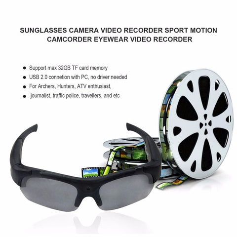 1080P HD Sports Camera Sunglasses Camcorder Eyewear with Polarized Lenses