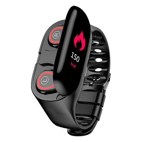 "2-in-1 Smart Watch Bluetooth Earphone 0.96"" Large Screen Waterproof Sports Watch Long Battery Life"