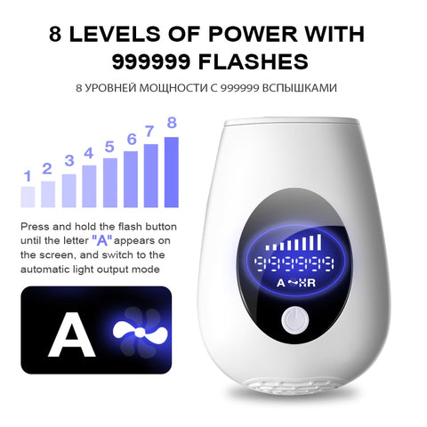 IPL Deluxe Laser Kit™ 999999 Flashes Laser Epilator Permanent IPL Photoepilator Hair Removal