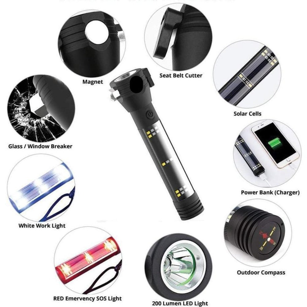 9 in 1 Multi-Functional Led Flashlight Solar Power Bank Compass Outdoor Emergency Survival Tool
