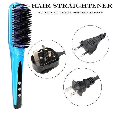 Image of 2 in 1 Ionic Hair Straightening Brush Auto Temperature Lock Digital Electric Hair Straightener Hair Brush Styling Tool