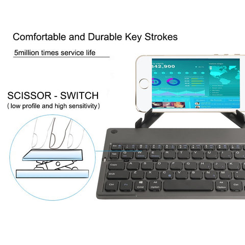 Image of Foldable Mini Keyboard with Tablet Stand Portable Bluetooth Wireless Keypad For IOS/Android/Windows