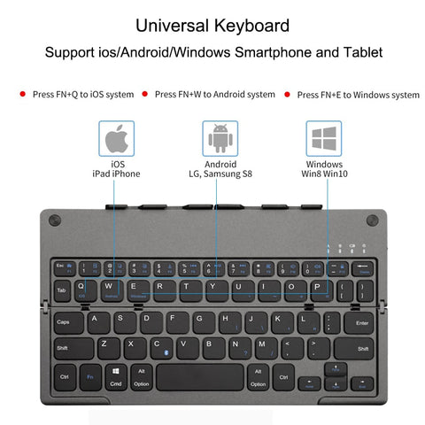 Foldable Mini Keyboard with Tablet Stand Portable Bluetooth Wireless Keypad For IOS/Android/Windows