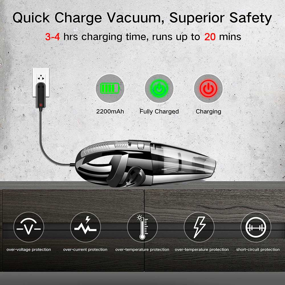 Rechargeable  Car Vacuum Cleaner Powerful Cordless Wet Dry Portable Handheld Vacuum Cleaner for Car Home Pet Hair Dust Cleaning