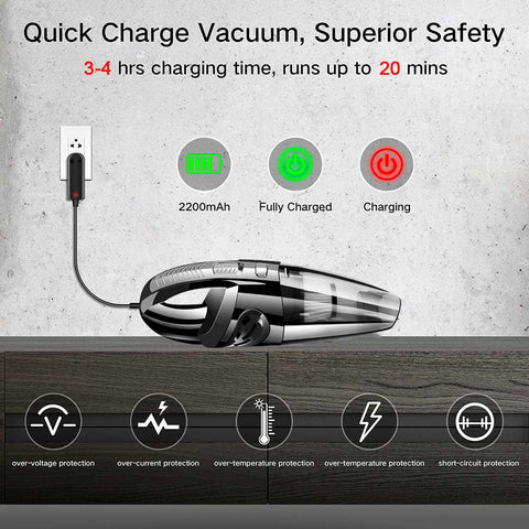 Image of Rechargeable  Car Vacuum Cleaner Powerful Cordless Wet Dry Portable Handheld Vacuum Cleaner for Car Home Pet Hair Dust Cleaning