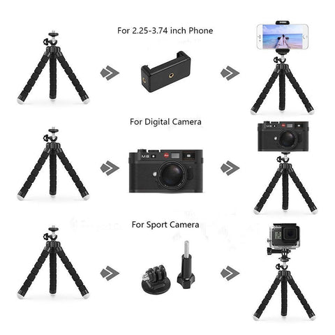Image of Amazing Flexible Tripod with Bluetooth Remote Control Shutter + Self-Timer & Mini Bracket Camera Phone Holder