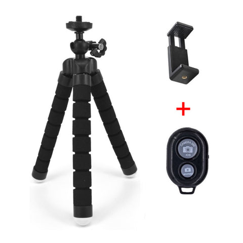 Amazing Flexible Tripod with Bluetooth Remote Control Shutter + Self-Timer & Mini Bracket Camera Phone Holder