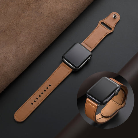 Leather Apple Watch Bands - 4 Colors Available - Black Brown Pink Gray