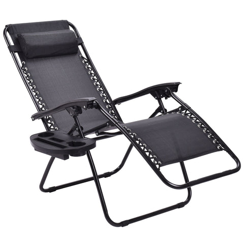 2pc Zero Gravity Chairs Outdoor Lounge Patio Folding Recliner Black Portable Chair with Cup Holder Utility Tray