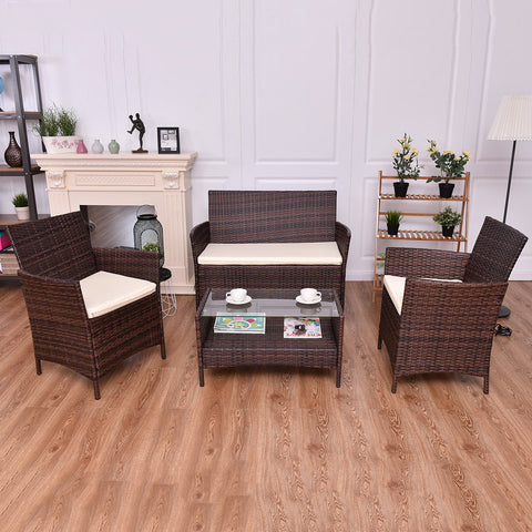 Image of 4pc Rattan Indoor Outdoor Patio Furniture Set Wicker Sofa Glass Top Coffee Table Modern Garden Sofa Furniture Set With Cushioned Seats