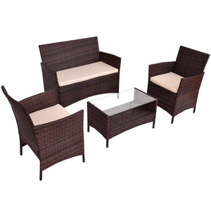 4pc Rattan Indoor Outdoor Patio Furniture Set Wicker Sofa Glass Top Coffee Table Modern Garden Sofa Furniture Set With Cushioned Seats