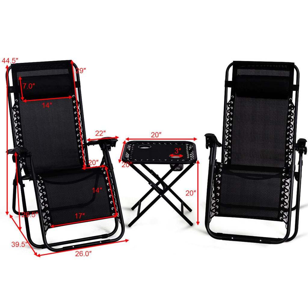 3pc Zero Gravity Reclining Lounge Chairs and Table Pillows Outdoor Yard Pool Recliner Portable Beach Camping Set