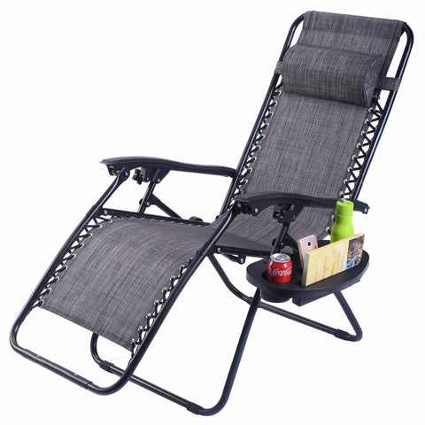 Image of Zero Gravity Chair Outdoor Lounge Patio Chair Adjustable Folding Recliner with Pillow and Utility Tray Cup and Magazine Holder