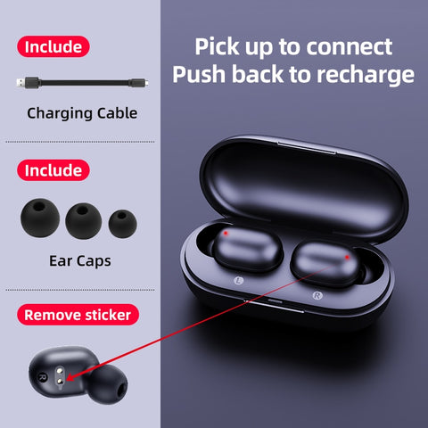 Image of TWS Fingerprint Touch Bluetooth Earphones Smart HD Stereo Wireless Noise Cancelling Twin Earbuds