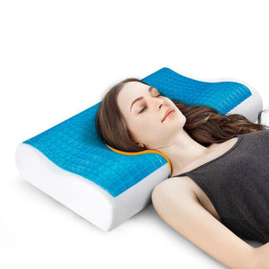 Cooling Gel Memory Foam Pillow - Ventilated Bed Pillow Infused with Cooling Gel