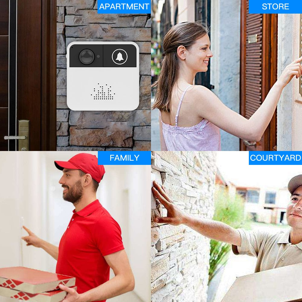 Smart Video DoorBell Video Intercom with Wireless Security Camera and Alarm Alert Push Notification to SmartPhone