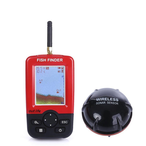Image of Smart Portable Depth Fish Finder with 100 M Wireless Sonar Sensor echo sounder Fishfinder with Handheld LCD Display Monitor