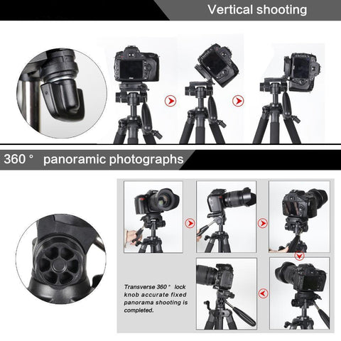Image of 18 to 55 inch Professional Portable Camera Tripod for SLR DSLR Digital Camera with Pan Head and Carrying Case