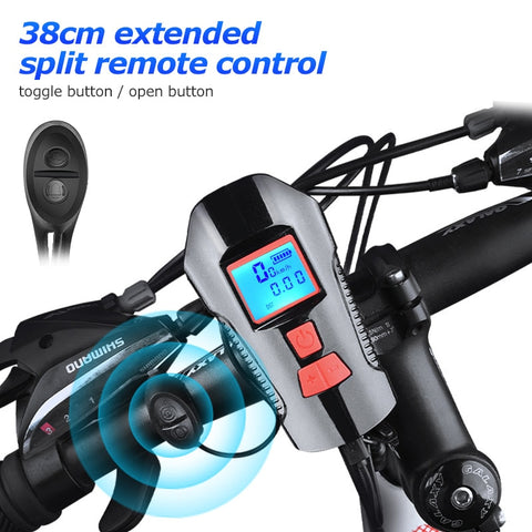 Waterproof Bicycle Light w/ Horn Speed Meter LCD Screen USB Charging Bike Front Light Handlebar Cycling Head Light