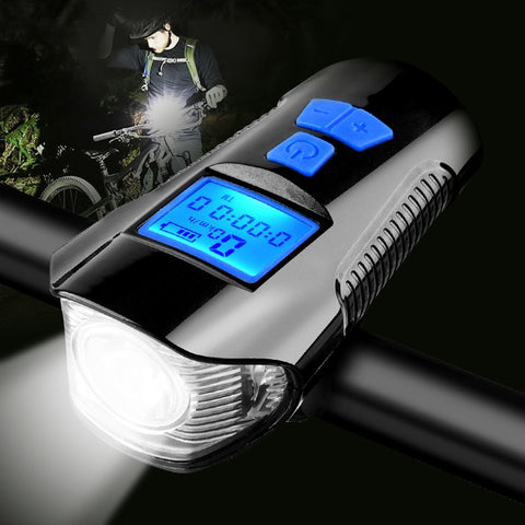 Image of Waterproof Bicycle Light w/ Horn Speed Meter LCD Screen USB Charging Bike Front Light Handlebar Cycling Head Light