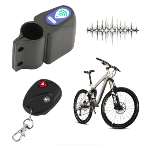 Image of Anti-Theft Bicycle Alarm - Remote Controlled Bicycle Vibration Motion Detection Security Alarm