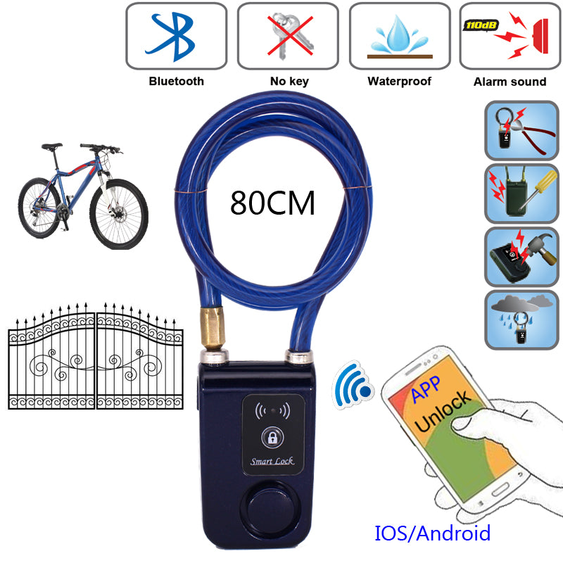 Bluetooth Smart Lock With Phone APP Waterproof Anti Theft Lock 110dB Alarm  For Door & Bicycle