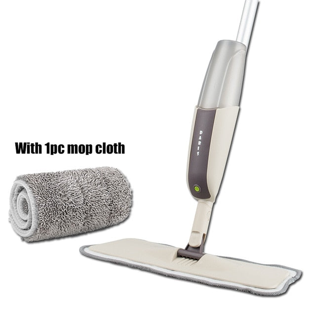 Magic Spray Floor Mop with Reusable Microfiber Pads 360 Degree Handle Mop for Home Kitchen Laminate Wood Ceramic Tiles Floor Cleaning