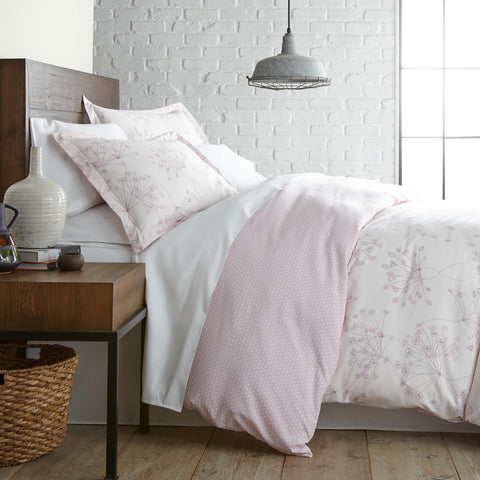 Pastel Pink Efflorescence and Snowdrops Reversible Duvet Cover Sets
