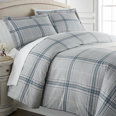 Purely Plaid Comforter Set in Grey