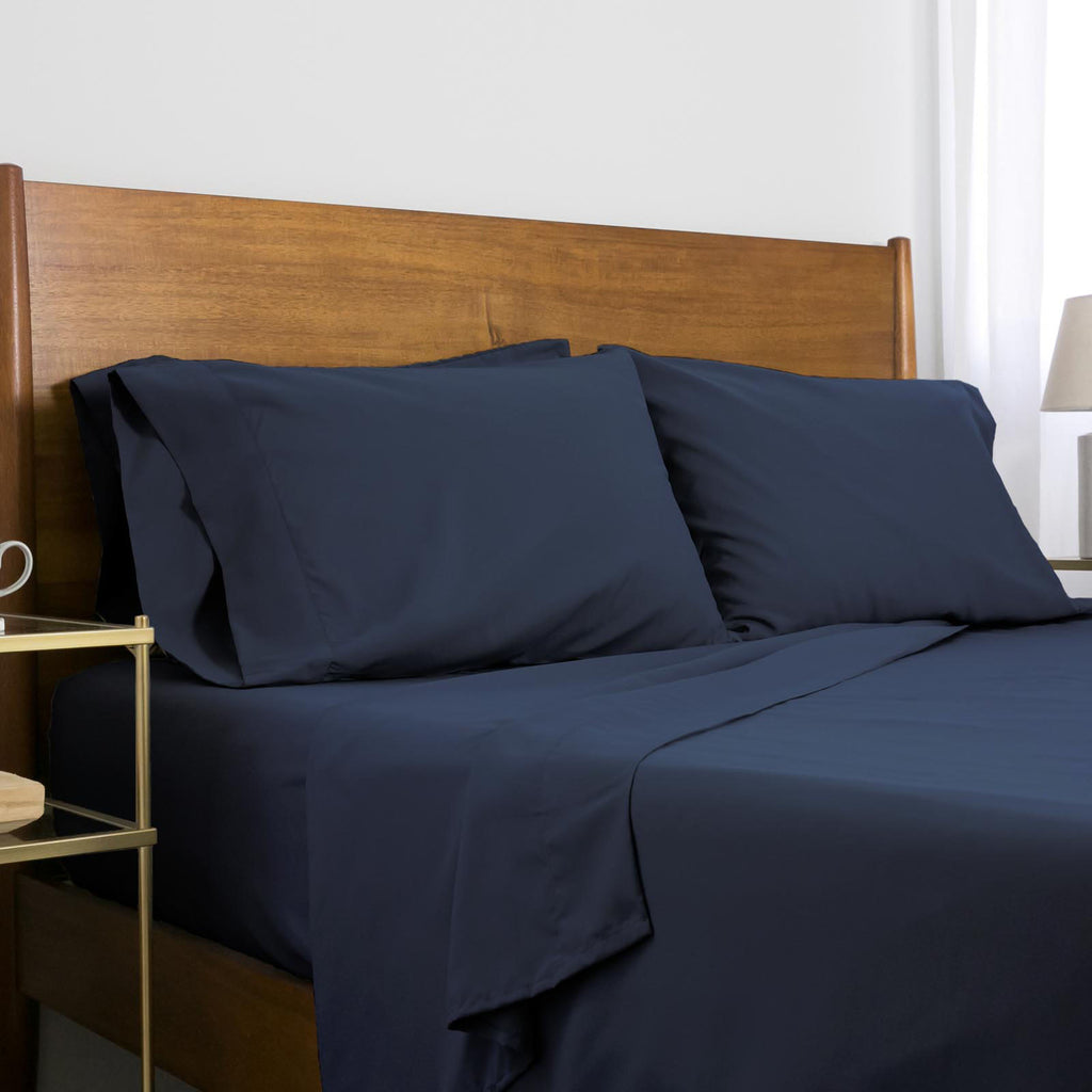 Classic 100 GSM Microfiber_Sheet Set_navy blue