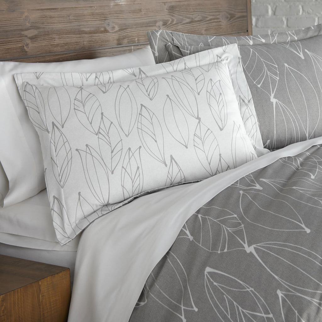 Contemporary Leaves_Duvet_Grey