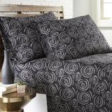 Radiant Rosebud_ sheet set_black