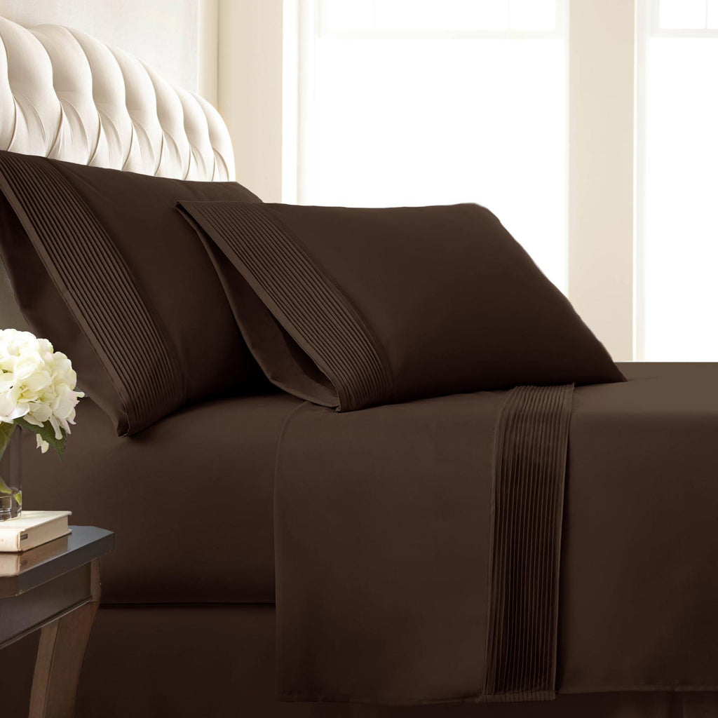 Soft Earth Tones_Pleated Sheet Sets_chocolate brown