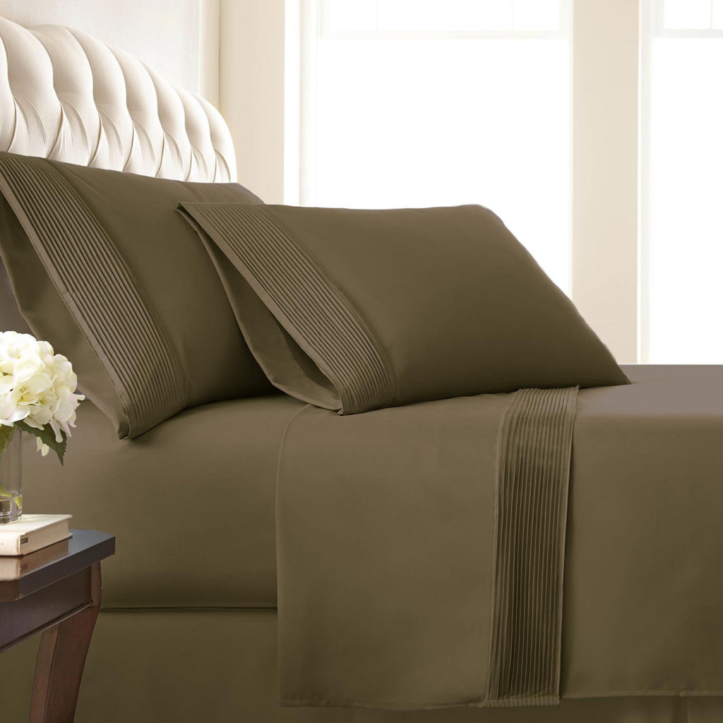 Soft Earth Tones Extra Deep Pocket Pleated Sheet Sets