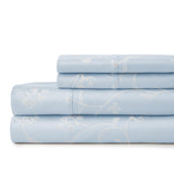 Secret Garden_sheet set_blue with white flowers