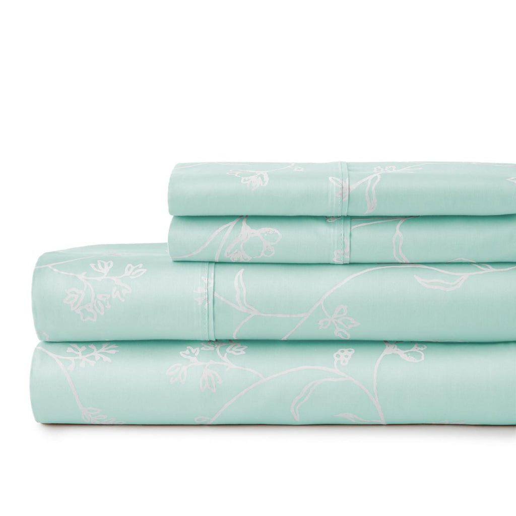 Secret Garden_sheet set_pastel green with white flowers