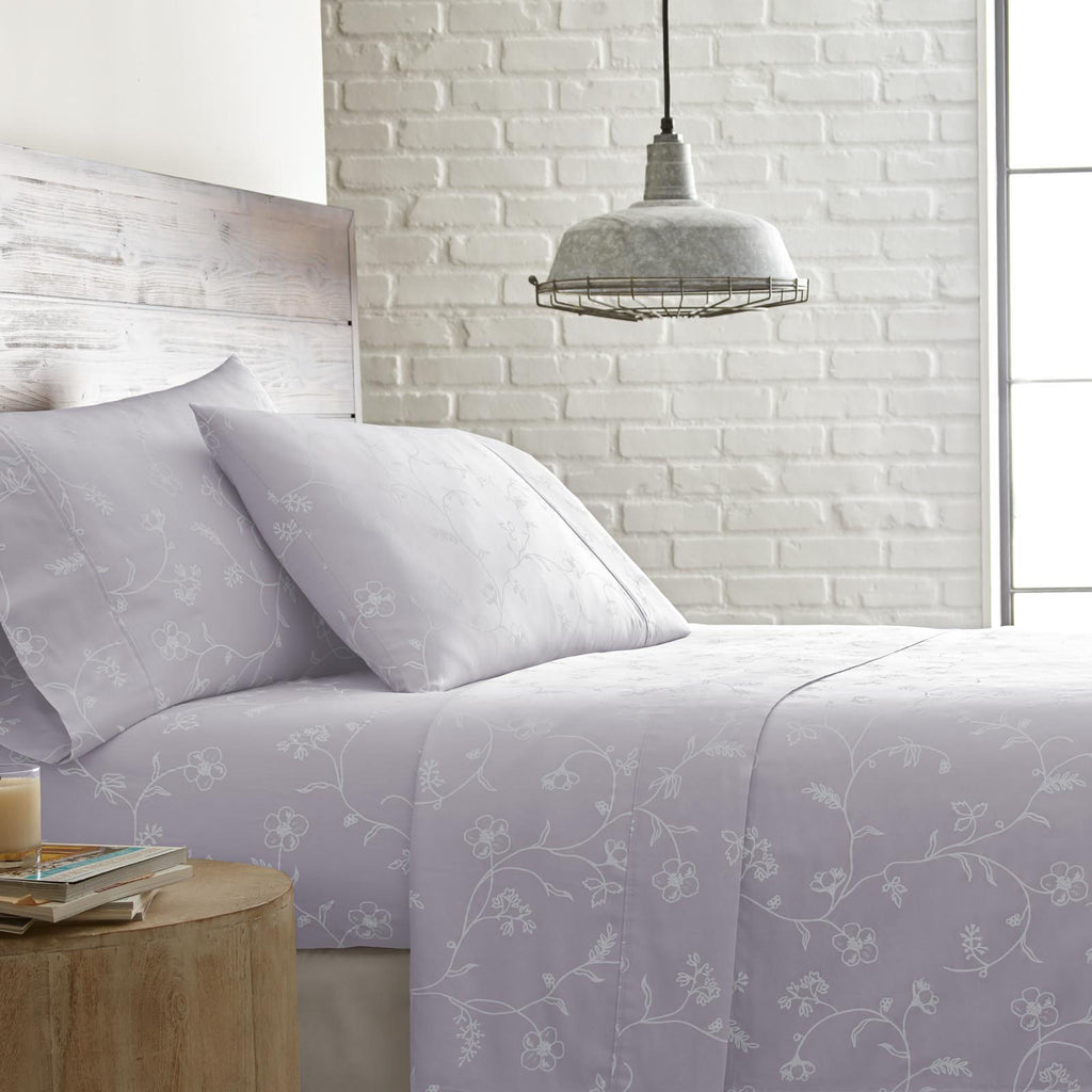 Secret Garden_sheet set_lavender with white flowers