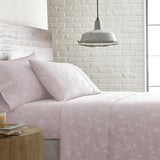 Secret Garden_sheet set_pastel pink with white flowers