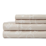 Secret Garden_sheet set_soft sand with white flowers
