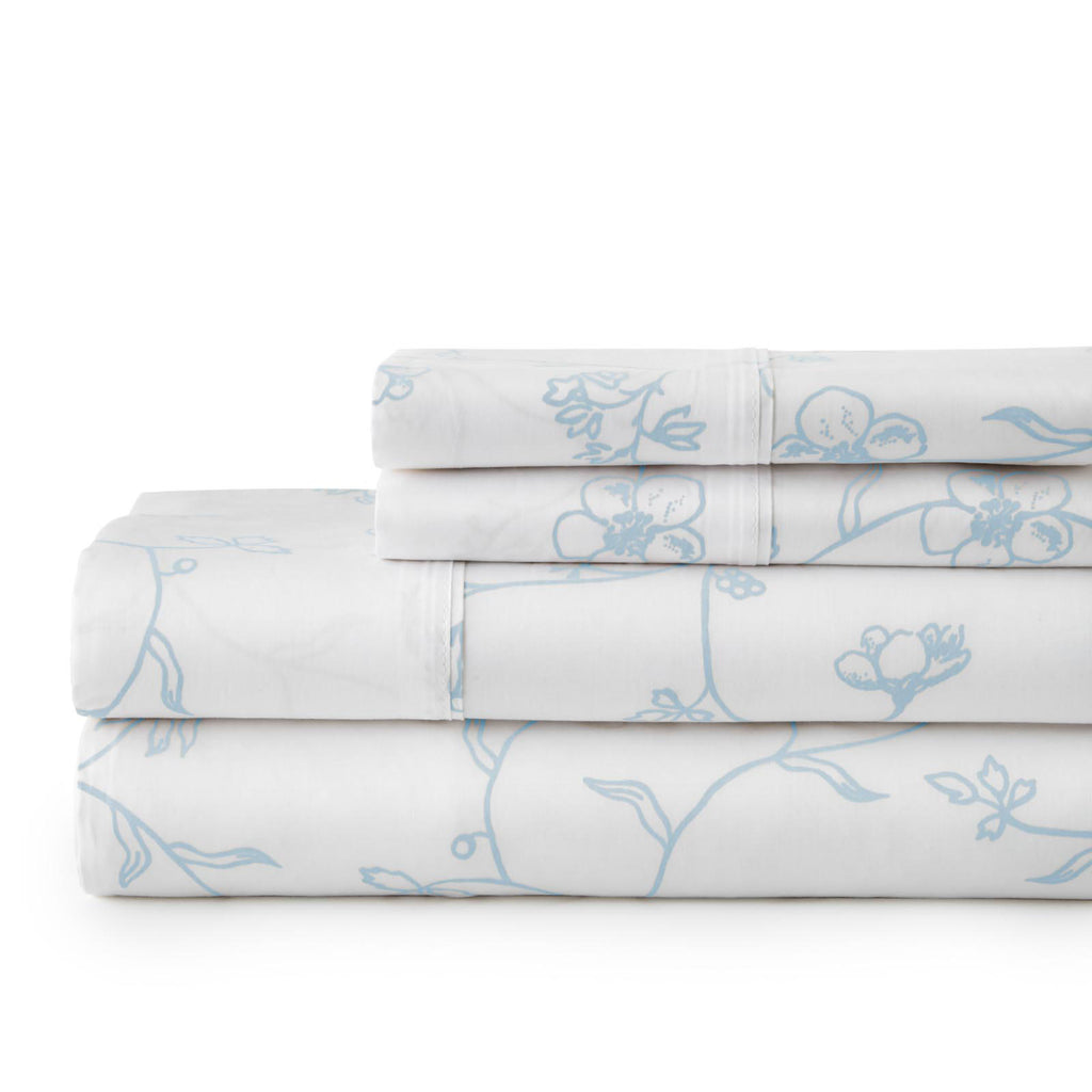 Secret Garden_sheet set_white with blue flowers
