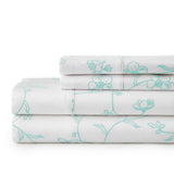 Secret Garden_sheet set_white with green flowers