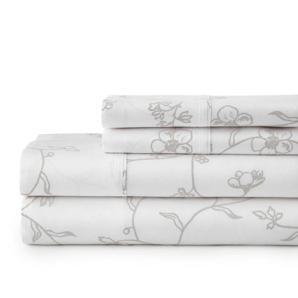 Secret Garden_sheet set_white with grey flowers