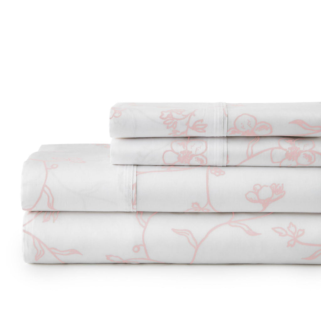Secret Garden_sheet set_white with pink flowers