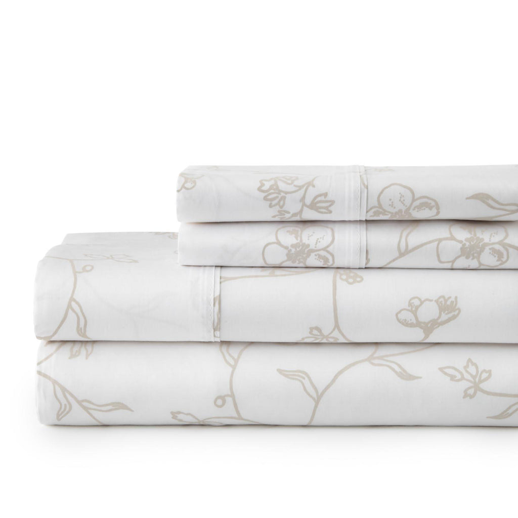 Secret Garden_sheet set_white with soft sand flowers